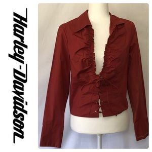 Harley Davidson lace up blouse